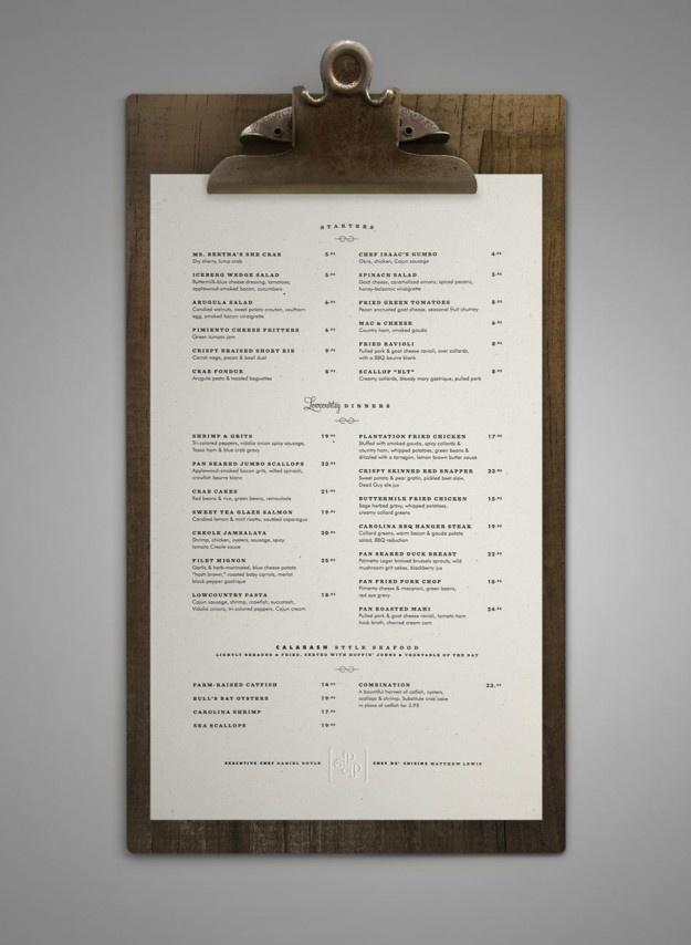 Poogan's Porch menu