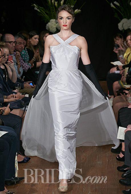 "Brides.com: Sarah Jassir - Fall 2014. ""Lana"" halter neck sheath wedding dress with long chiffon train, Sarah Jassir"