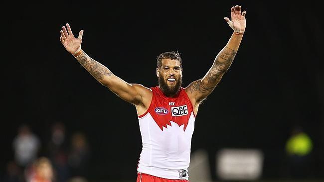 """Lance """"Buddy"""" Franklin of the Hawks, an Australian Football League team."""