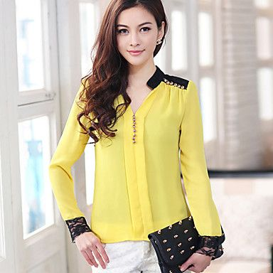 Camisa das mulheres emenda Lace Chiffon – BRL R$ 91,41