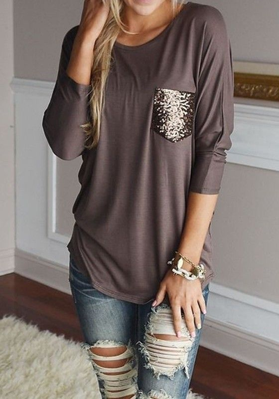 Brown Patchwork Pockets Round Neck Long Sleeve Loose T-Shirt