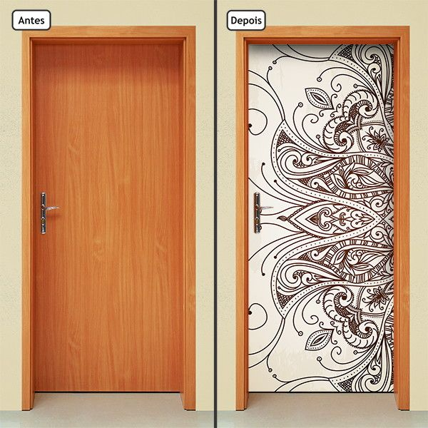 Adesivo Decorativo de Porta - Mandala - 300mlpt  Renove seu ambiente com o adesivo de porta da Letto*, muito prático, rápido e sem sujeira.  Produto autocolante, pronto para aplicação, sua porta de cara nova em questão de minutos.  Adesivo na medida padrão de 210cm x 90cm. Se a porta for menor qu...