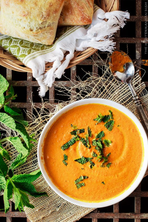 Roasted  Carrot Ginger Soup | The Mediterranean Dish. Flavor-packed with Mediterranean spices, fresh ginger and a little fresh mint.