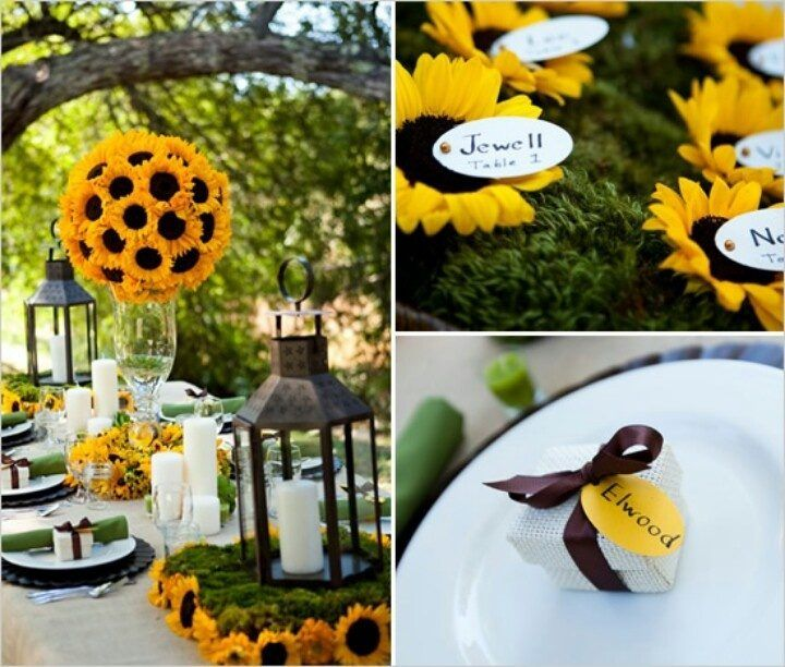 déco de mariage sur le thème tournesol - des arrangements floraux créatifs sur la table