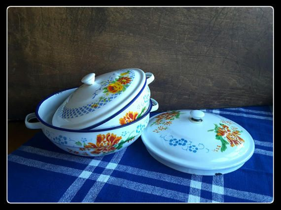 Vintage retro enamelware two bowls with by PawhillTreasures