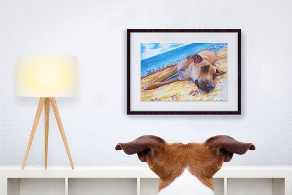 """For dog lovers, art Print of """"Dog on the Beach"""" by Kate Green Design https://www.etsy.com/ca/listing/269725699/dog-on-the-beach-framed-print-by-kate?ref=shop_home_active_3"""