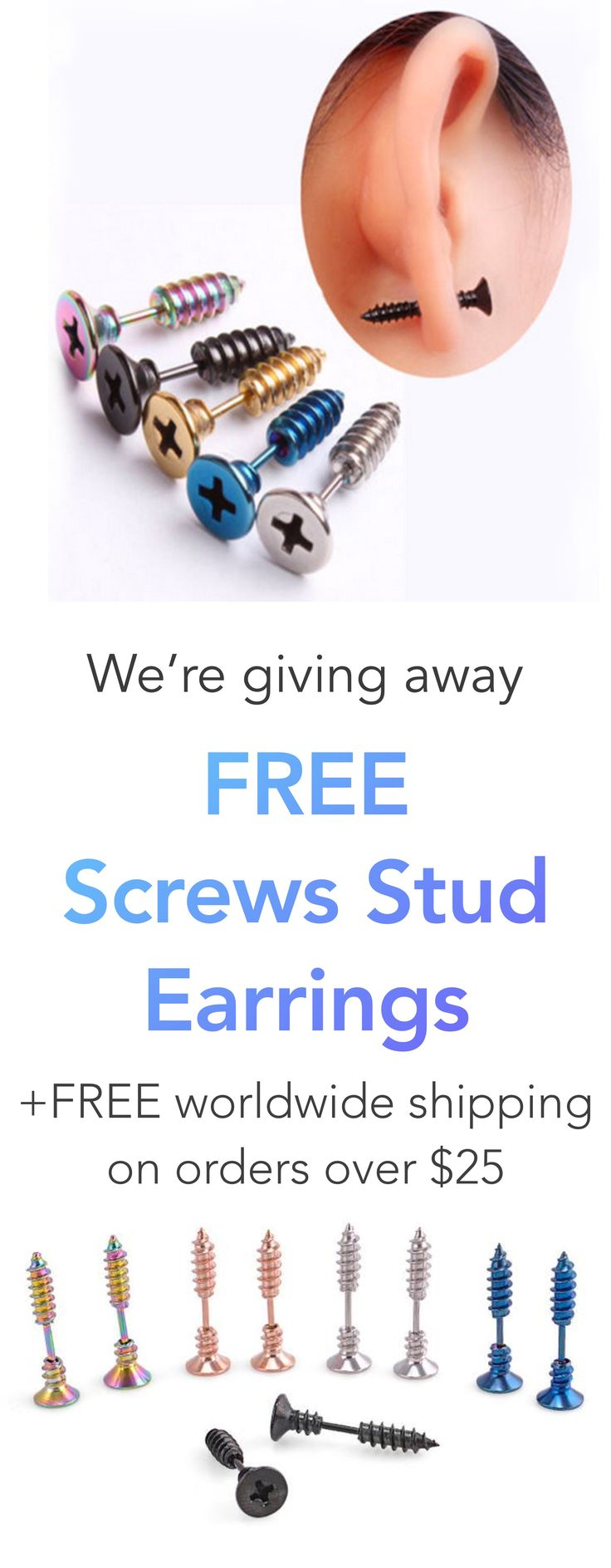 FREE Screws Stud Earrings