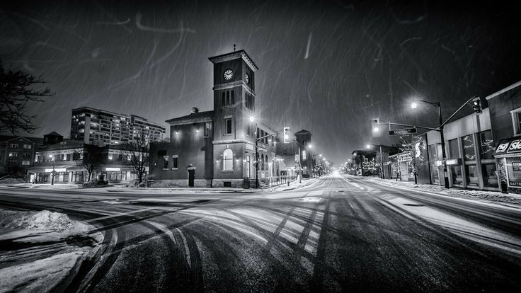 Milton Ontario on a snowy evening