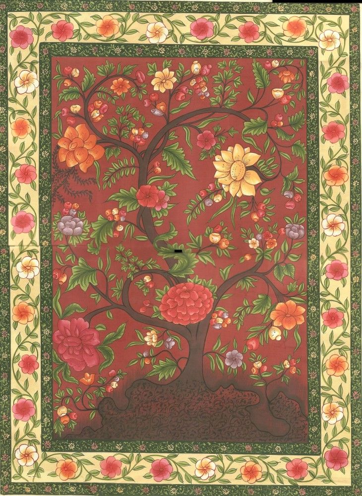 "Mughal Miniature Painting Handmade Floral Flower Moghul Indian Muslim Ethnic Art – ""Floral Indulgence."""
