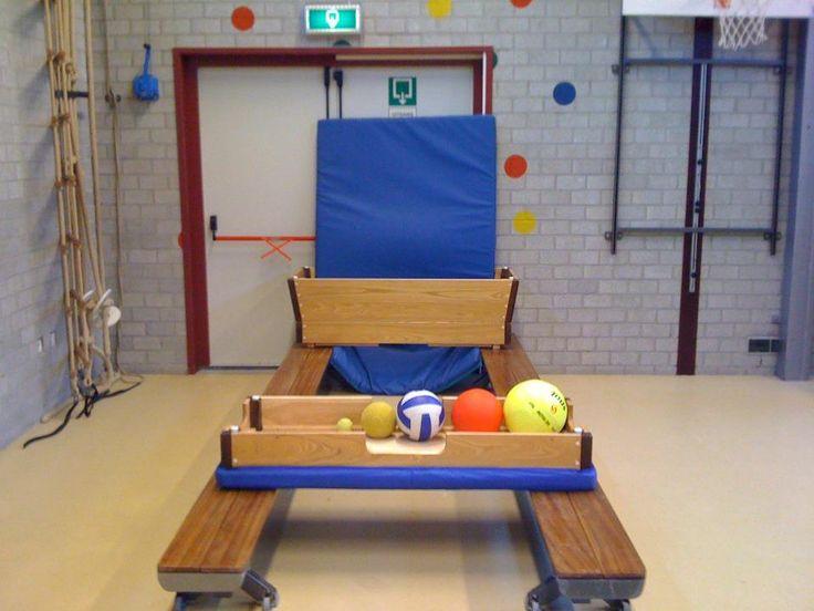 Ballenmachine. Materialen: - 2 banken - 1 kast - 1 matje - diverse ballen Lesvoorstel: Leerling staat achter de kastkop. (afstand kan aangepast worden) Pakt een bal, mikt hem in de kast en de bal komt automatisch weer terug gerold.