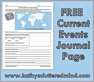 FREE Current Events Journal Page
