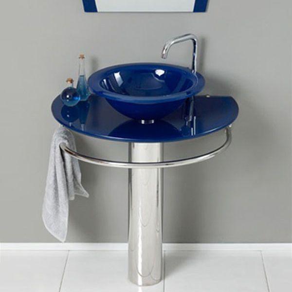 Kokols Wf 21 30 In Blue Tempered Glass Vessel Sink Pedestal Bathroom Vanity Combo Glass