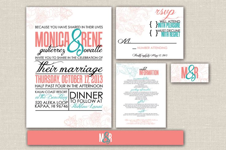 Modern Wedding Invitation and Reply Card- Printable, Custom design with Chic, floral accents- Coral and Teal Whimsical Design-The Danielle by WDesignGallery on Etsy https://www.etsy.com/listing/96948557/modern-wedding-invitation-and-reply-card