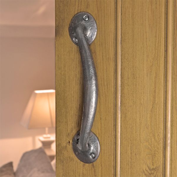 Kirkpatrick 4013 Canterbury Door Pull Handle - Pewter Finish - A high quality, iron pull handle. Unsurpassable British quality, hand forged in a foundry in the West Midlands.