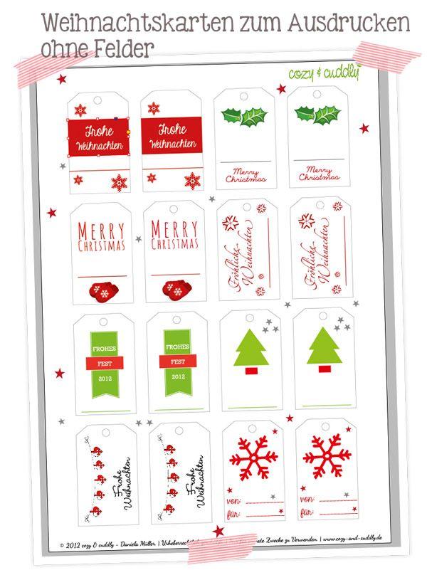 Weihnachtsanhänger/ Geschenkanhänger. PDF zum ausdrucken und selbst beschriften.   Printable, Freebie