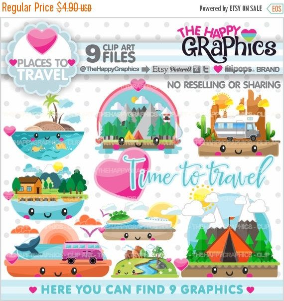 80%OFF - BIG SALE Travel Clipart, Travel Graphic, Commercial Use, Kawaii Clipart, Places to Travel, Planner Accessories, Landscape, Travelin