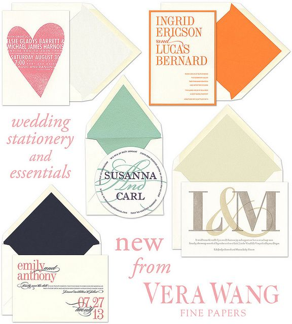 New wedding stationery from Vera Wang and available at Papier Gourmet