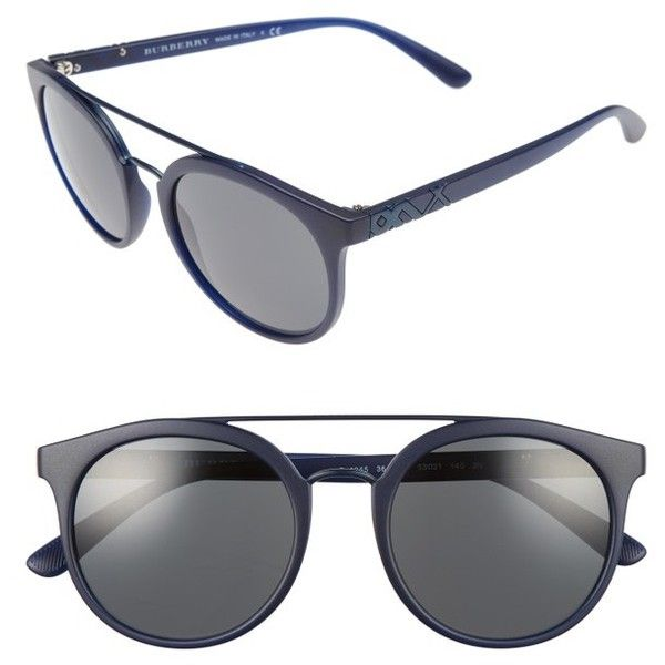 burberry blue sunglasses j3bx  Women's Burberry 53Mm Round Sunglasses $215  liked on Polyvore featuring  accessories, eyewear