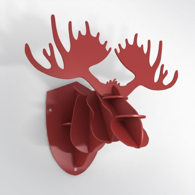 PVC Hunting Trophy - Red Moose Antlers. Made from PVC foam, cnc cutted. Also available in baltic birch plywood. Designed and made in Québec, by dezz.xyz.