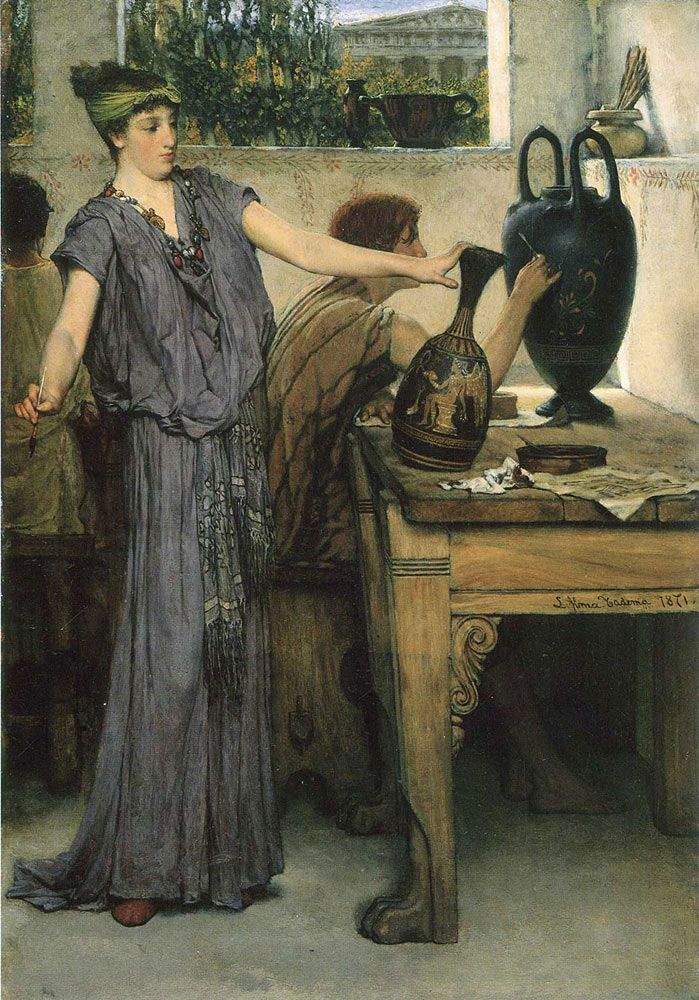 Sir Lawrence Alma-Tadema. Cheramic Painter, 1871. Buy this painting as premium quality canvas art print from Modarty Art Gallery. #art, #canvas, #design, #painting, #print, #poster, #decoration