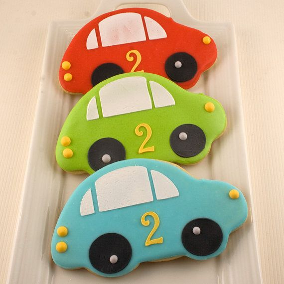 Car Cookies- 12 Decorated Sugar Cookie Favors By Truly Scrumptious Cookies