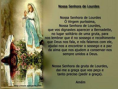 Oração à Nossa Senhora de Lourdes. Postado por Wanessa às sábado, maio 28,