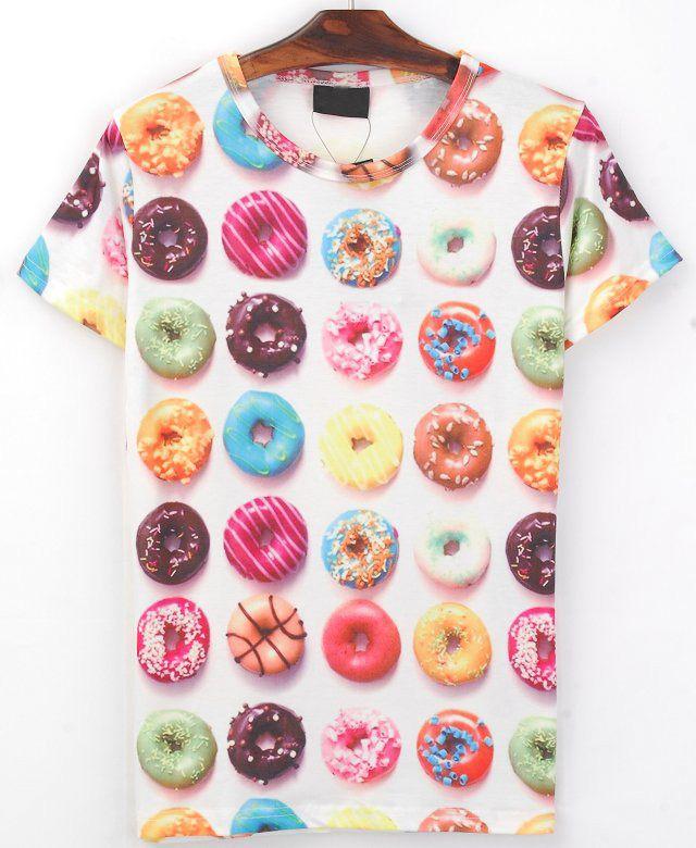 White Short Sleeve Donuts Print T-shirt - Sheinside.com