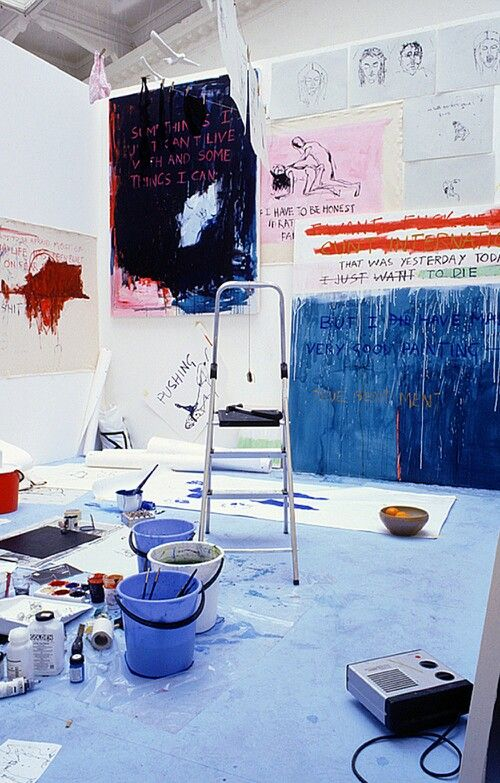 Tracey Emin studio. #traceyemin http://www.widewalls.ch/artist/tracey-emin/ Even though the studio looks like it's still under maintenance, I can already see some very powerful art going on here.