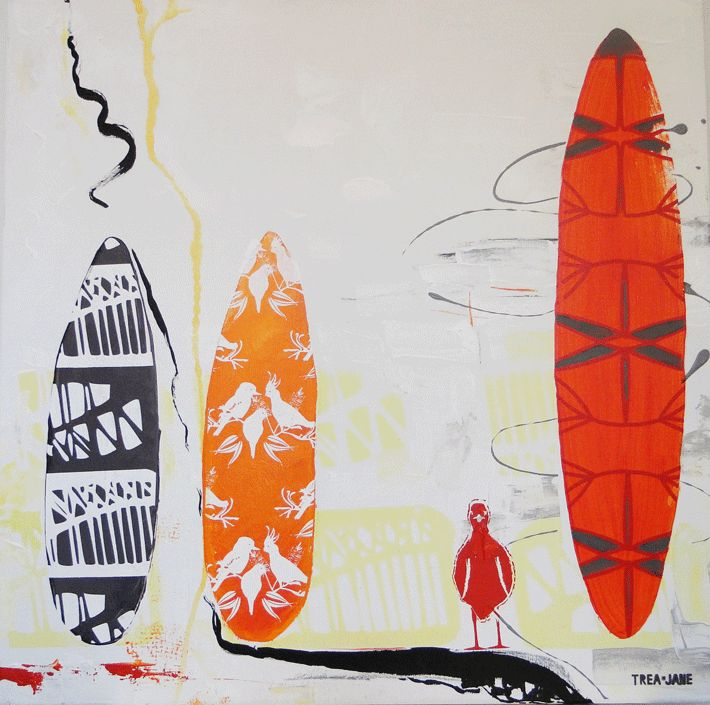 """""""Summer & Surf"""" Hand screen painted designs over lay surfboards to blend images synonymous with the Australian summer."""