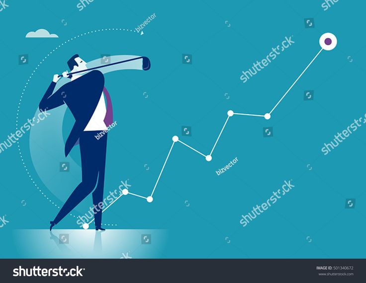 Drive. Manager hits a golf ball creating rising business chart. Concept business vector illustration