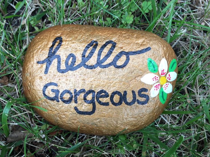 Hello gorgeous. Hand painted rock by Caroline. The Kindness Rocks Project