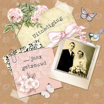 uitnodiging jubileum  postcard vintage - Uitnodigingen - Kaartje2go