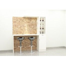 Kalix bar cabinet with table, storage racks. This bar unit adds style to the entire space. Made up of plywood with laminate finish. The background laminate adds great combination with the white color unit. It's time to party with family and friends now with this trendy furniture.