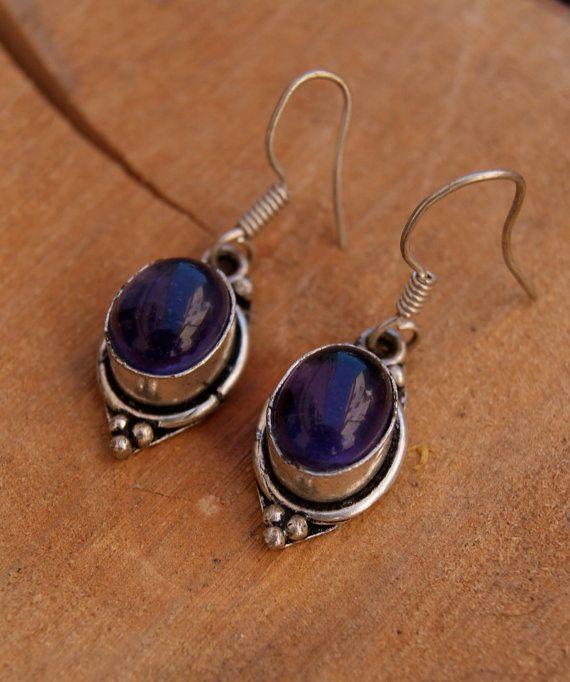 Sterling silver amethyst earrings semi precious di ShockedShop