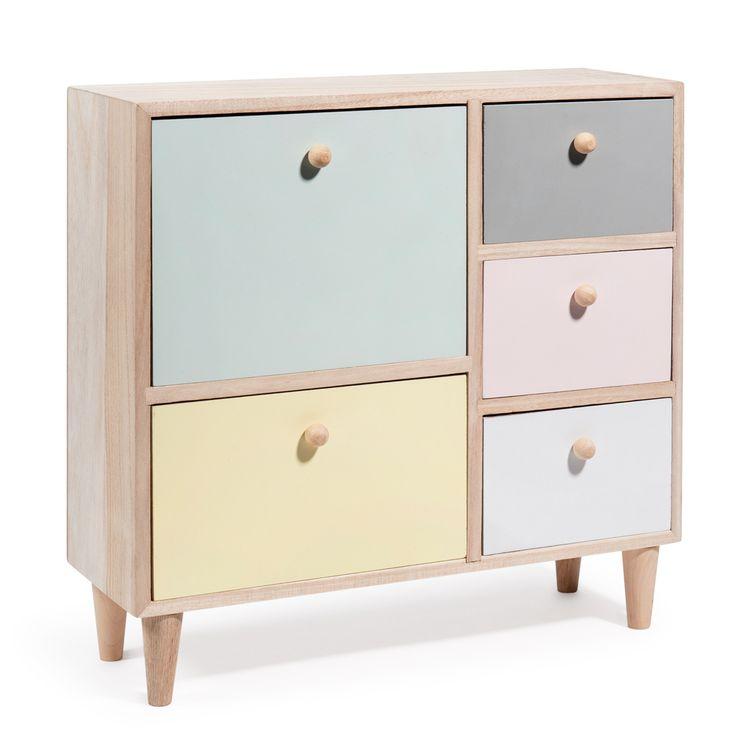 Caja con 5 cajones de madera de colores Al. 31 cm PASTEL COLORS | Maisons du Monde