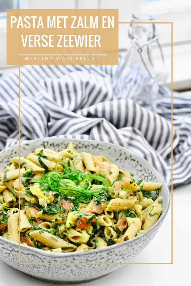 Makkelijke en gezonde pasta salade met zalm en verse zeewier - Recept op www.HealthyWanderlust.nl | Health blog voor vrouw, moeder en kind