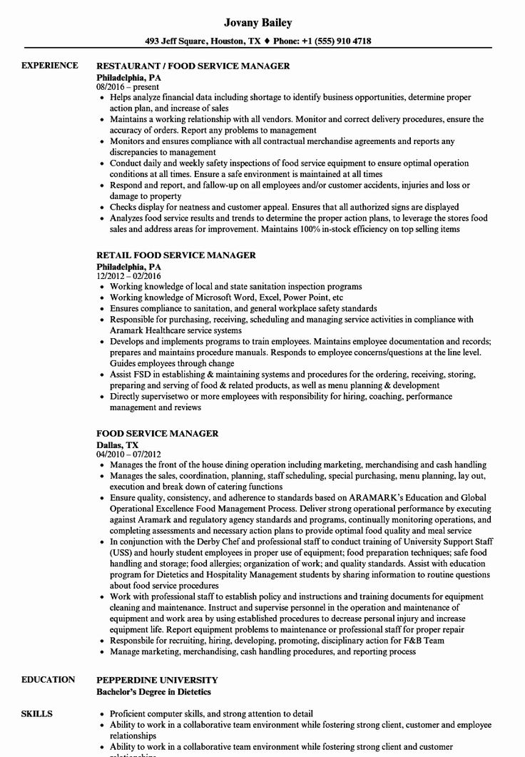 23 Dietary Aide Job Description Resume in 2020 Manager