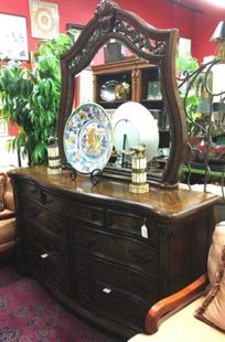 "High quality, Mediterranean dresser with mirror. Serpentine front with hand carved details, luscious, full grain walnut veneers. Bottom drawers are cedar lined. Just 18.5"" deep. Made by Pulaski. 67"" x 18.5"" x 38.5"" Mirror is 50"" x 46"" SOLD"