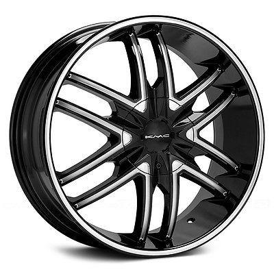 22 inch 22x9.5 KMC Splinter black wheel rim 6x5.5 6x139.7 +15 (4 Wheels)