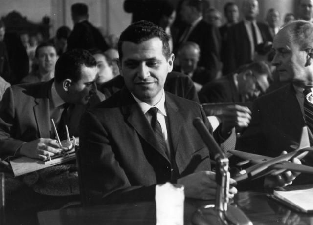 Still Mysterious: Gary Powers and the Spy Plane Incident: 1962: Gary Powers, the American spy pilot shot down over Russia, with a model of the U 2 spy plane at a Senate Armed Forces Committee in Washington.