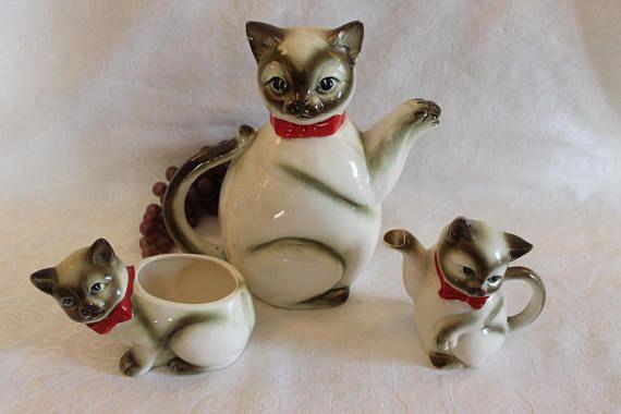 Vintage Japanese Kasuga Siamese Cat Teapot With Matching Creamer