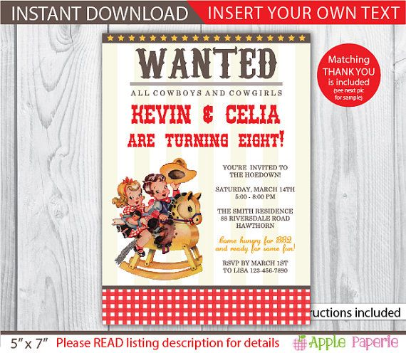 cowboy invitation / cowgirl invitation / printable cowboy invitation / western cowboy invitations / wanted cowboy invitation / INSTANT by ApplePaperie