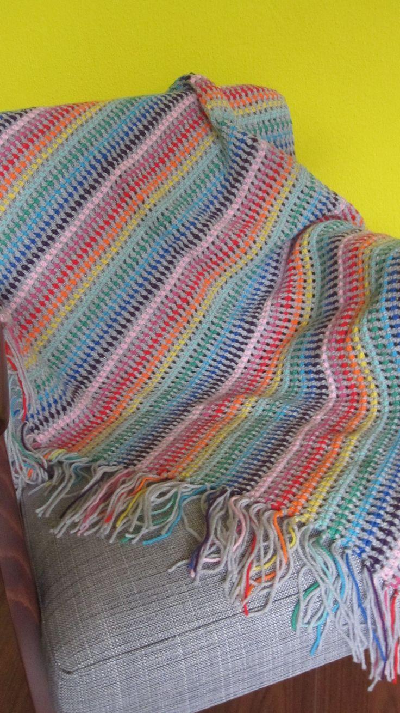 gehaakte regenboogsprei, regenboogplaid. crochet rainbow blanket