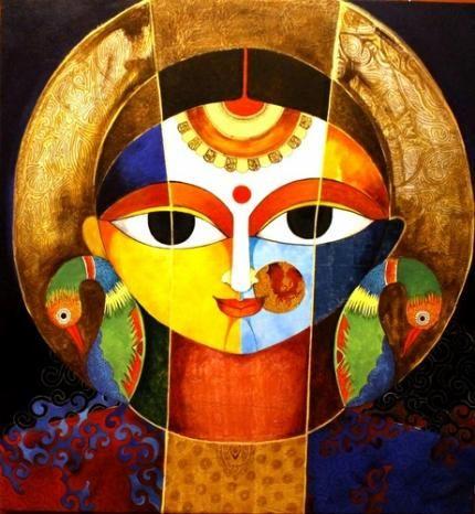 artworks by Meenakshi Jha Banerjee at: http://www.indianartcollectors.com/artist/MeenakshiJhaBanerjee