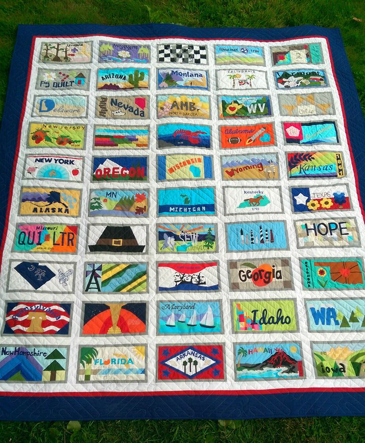 American Made Brand License Plate Quilt With 50 Blocks