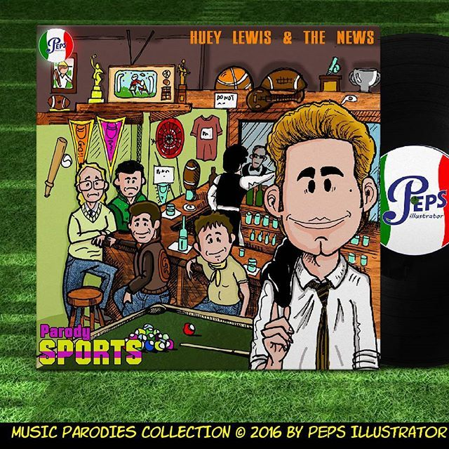 Music Parodies Collection Vol. 30  Huey Lewis & Tge News - Sports (1985)  #inktober #inktober2016 #hueylewis #coverlp #parody #caricature #thenews #iwantanewdrug #instagood #backtofuture #ritornoalfuturo #countryrock #followme  #usaforafrica #sports #80s #giuseppelucano #doodle #rock #iphonesia #smallworld #records #grammyadwards #backintime #thepoweroflove #vinylrecords #vinyl #ghostbuster #michaeljfox