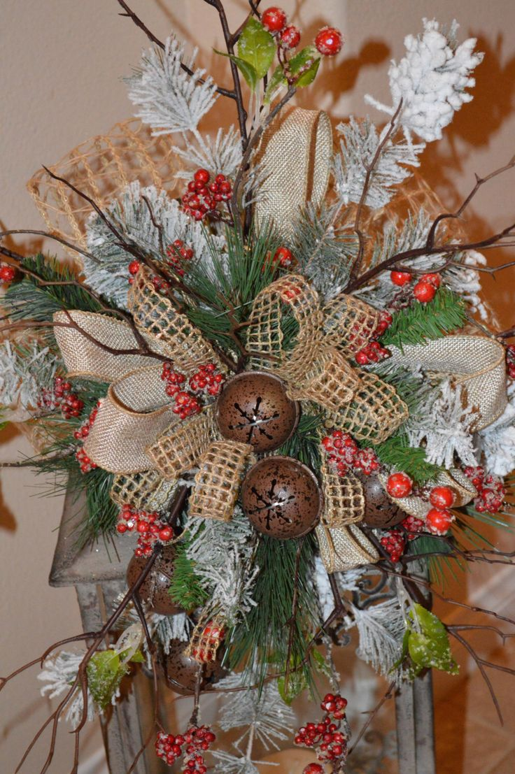 Tree Topper, Rustic Tree Topper, Christmas Tree Topper, Lantern Swag, Rustic Lantern Swag, Bell Swag by TheBloomingWreath on Etsy https://www.etsy.com/listing/210607626/tree-topper-rustic-tree-topper-christmas