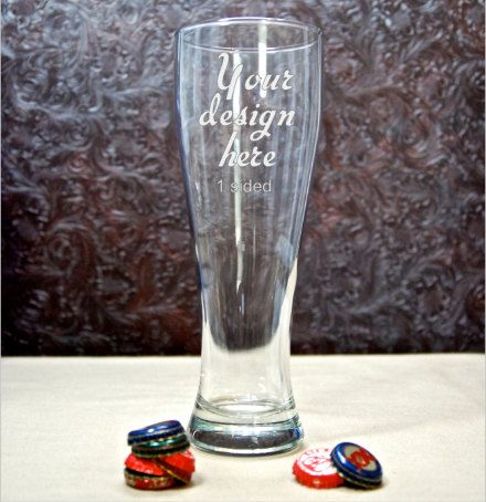 Custom Glass Etched Large Pilsner Beer Glass - 1-Sided -Etched Glass - Custom Glass Etching - Sandblasted Glass - Personalized Beer Glasses - pinned by pin4etsy.com