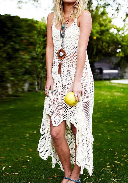 Crochet Maxi Dress : Boho Crochet Maxi Dress - Beige