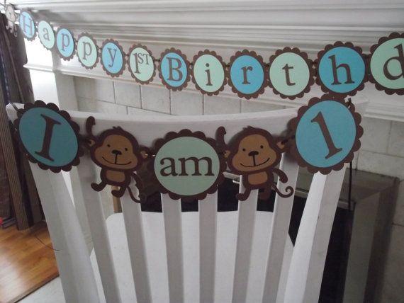 MONKEY First Birthday high chair banner I am 1,  girl birthday, boy birthday,  first birthday,  monkey Safari Jungle birthday. via Etsy